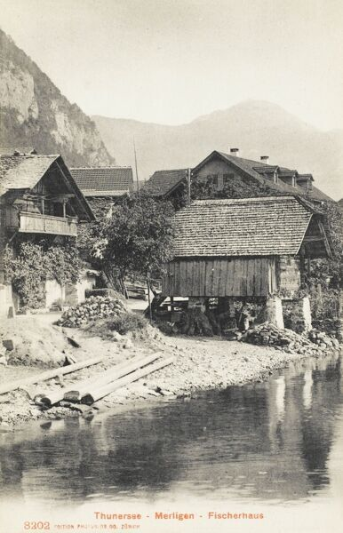 Lake Thun (German: Thunersee) is a lake just north of the Alps, in the Bernese Oberland in Switzerland. Fishing in the lake key to the local economy. This photograph shows one of the fishing houses at Merzligen on the banks of Lake Thun