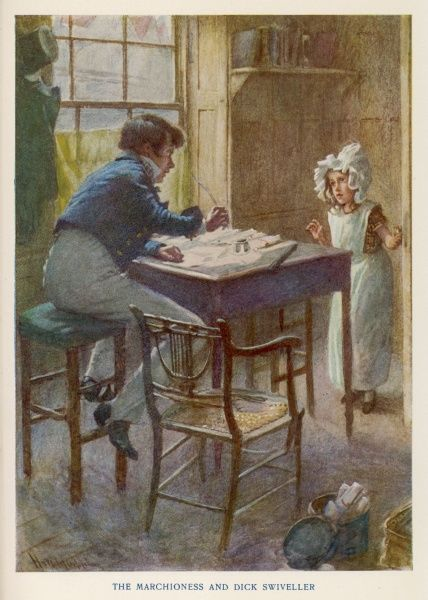 Dick Swiveller is disturbed at his writing desk by 'The Marchioness', the poor little servant girl kept locked below stairs by the Brass family