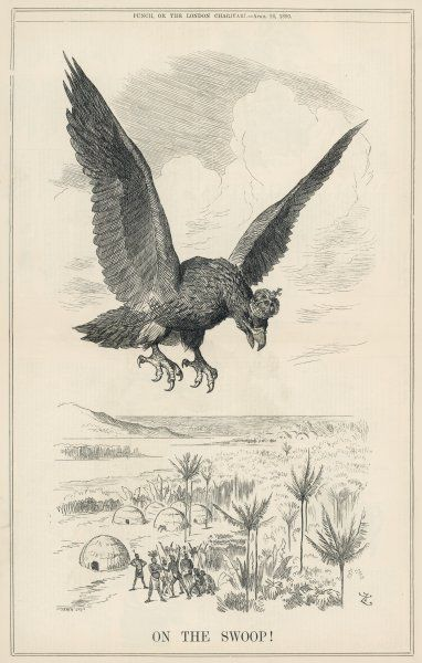 'On The Swoop!' The Imperial German eagle swoops menacingly over natives of the Congo looking to steal their land
