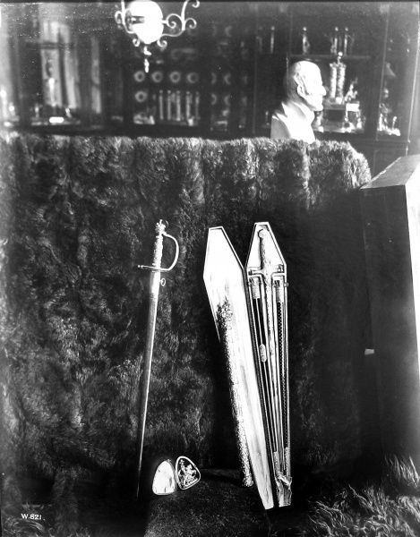 Photograph showing the swords of Napoleon and the 1st Duke of Wellington on display in Apsley House, London, 19th century. Apsley House was the home of the Duke of Wellington following his famous victories in the Napoleonic Wars