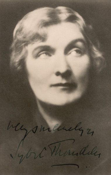 Dame Agnes Sybil Thorndike. Distinguished British actress of stage and screen, heaped with honours, including a DBE, (Dame Commander of the Order of the British Empire) in 1931