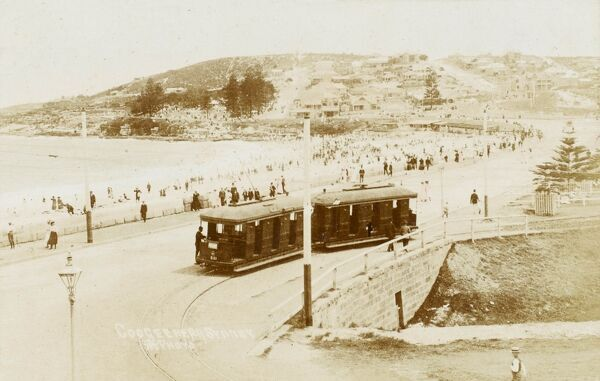 Sydney, Australia - Coogee Beach - a two-carriage tram close to the (rather popular it seems!) beah&quot