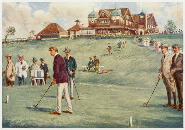 Golfers golfing at the Royal Sydney Golf Club links