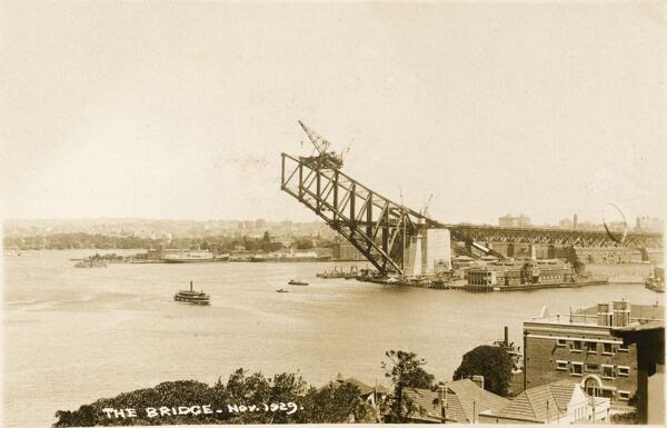The construction of the Sydney Harbour Bridge, Sydney, Australia