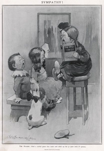A rather distressing but humorous scene. Showing children (and a dog) reading a sad book. All three children are bawling while the dog joins in by howling. Estate of George Studdy/Gresham Marketing Ltd./ILN/Mary Evans