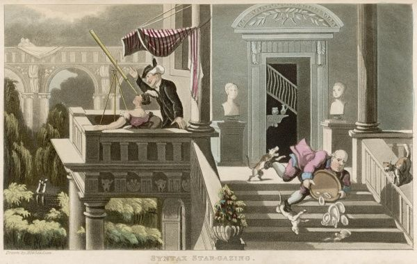 Dr Syntax shows a lady the stars through a telescope, while the butler trips over a dog on the stairs and drops his tray of crockery