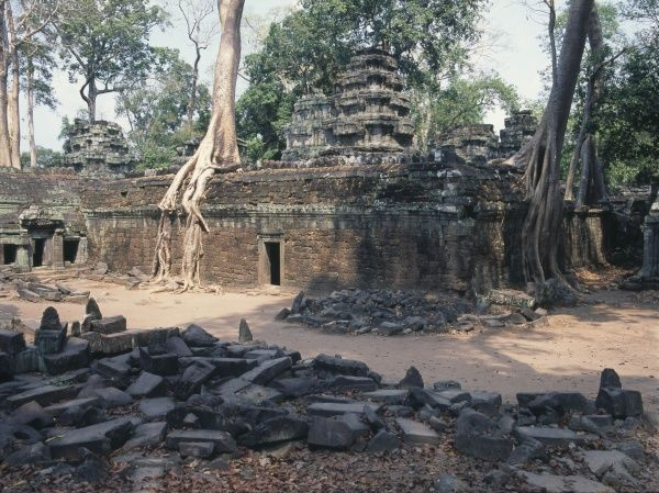View of Ta Prohm (Ancestor Brahma) Khmer Buddhist temple at Siem Reap, Cambodia