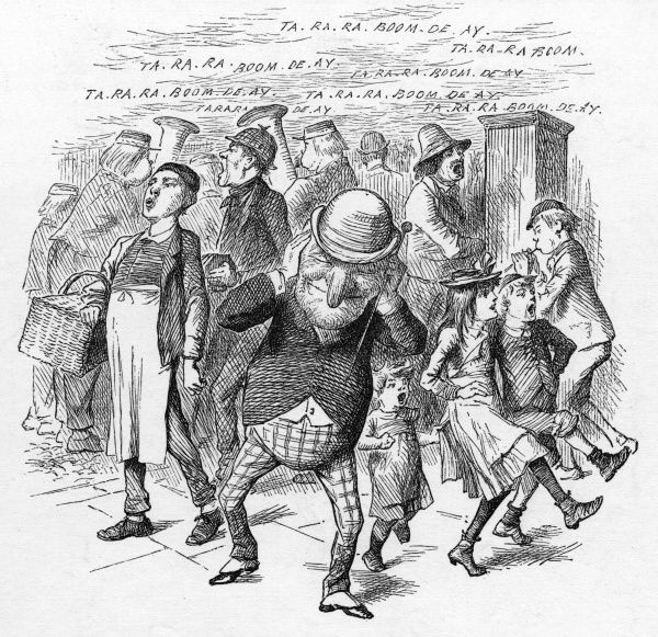 Mr. Punch shields his ears against the din of the popular music hall hit 'Ta ra ra boom de ay', sung, played and whilsted in the street by all and sundry. Date: 1892