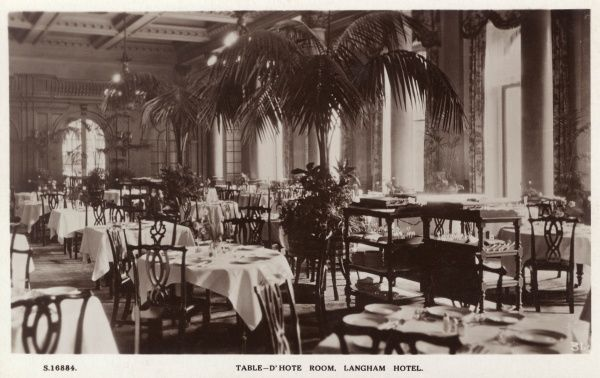 Table d'Hote Room, Langham Hotel, Portland Place, London W1. Date: circa 1920s