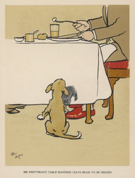 A dog waits expectantly by the table as his master eats