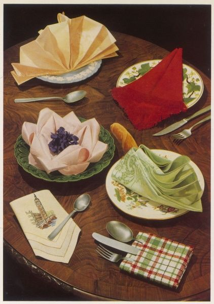 Six ways to fold napkins. Top left, Victorian fan; right, Cornet; centre left, Water Lily; right, Swan; bottom left, Mitre; right, Pocket fold