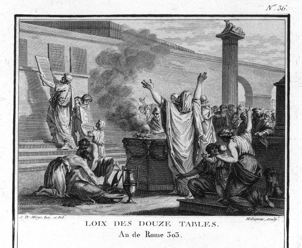 The Twelve Tables, Rome's first legal code, are drawn up by a commission at the request of the plebeians
