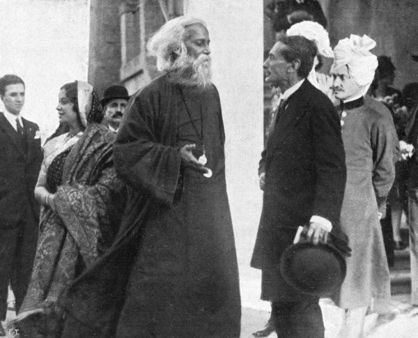 SIR RABINDRANATH TAGORE Indian writer, seen visiting Italy as a guest of Mussolini. Date: 1861 - 1941