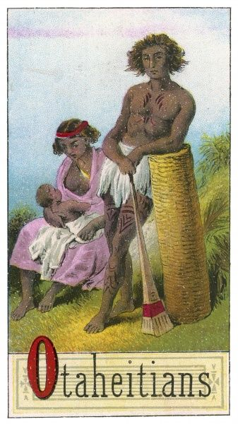 A Tahitian couple with their child