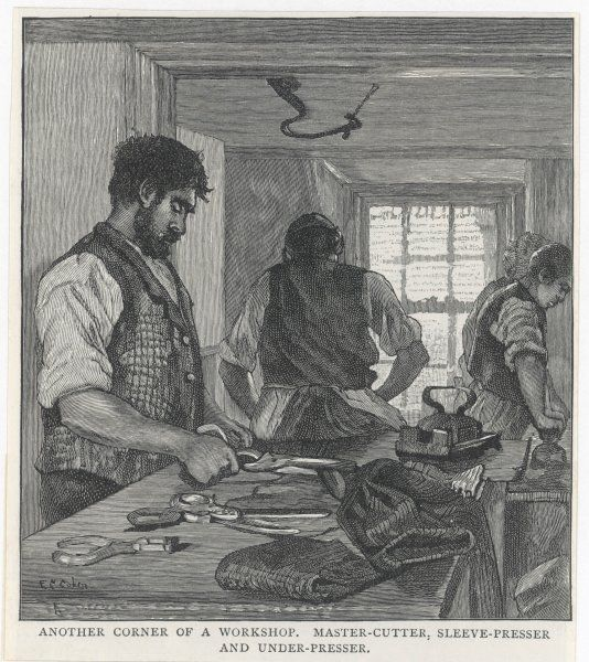 A Tailor's workshop, showing the master cutter, sleeve- presser and under-presser