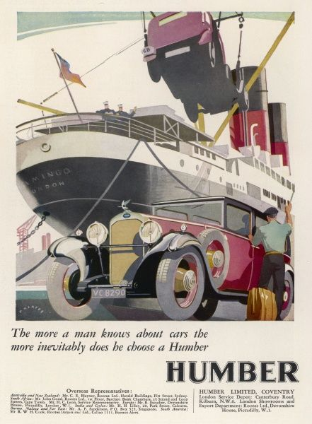 Taking your car on a foreign holiday was a much more complicated matter in 1931 ! Loading an ocean-going liner