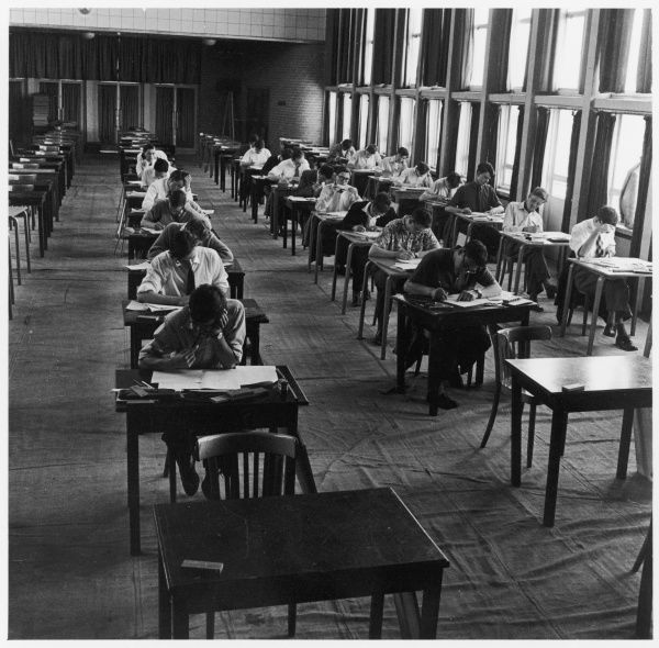 Students taking their exams at Hatfield Technical College