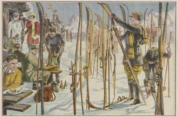 Skiers take a break, off the piste, by standing their skis in the snow and having a drink