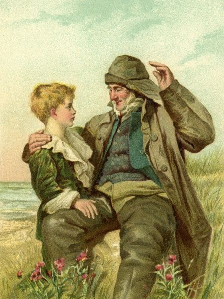 Tales of the Sea. Artist: Anon. An old sailor recalls his maritime adventure to an attentive small boy on the shore Date: circa 1905