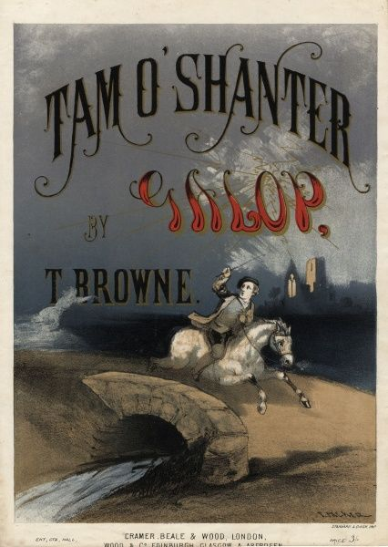 Tam O'Shanter gallops across the bridge on his horse to escape the witches, on the cover of this music sheet, containing the Tam O'Shanter Galop with music by Thomas Browne, based on the poem by Robert Burns