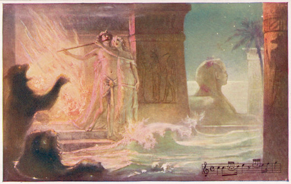 Guided and protected by the magic flute, Tamino and Pamina emerge unscathed from the ordeal of fire and water, and all will now be well for them