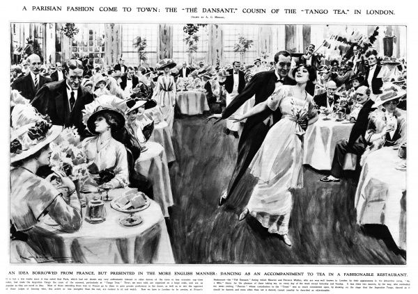 A Parisian fashion come to London: the tango tea at Prince's restaurant, 1913. Date: 1913