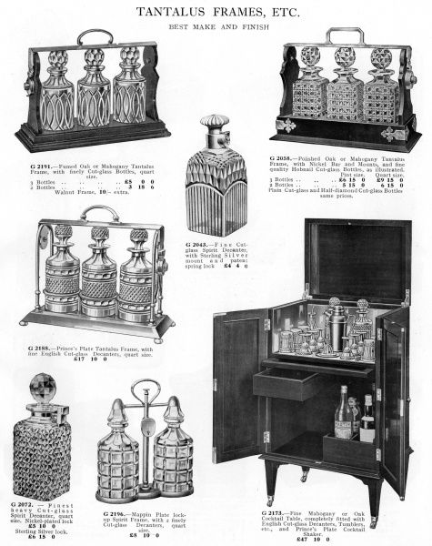 These tantalus frames and cocktail table can be locked so that your servants can't help themselves, thus saving them from the consequences of yielding to temptation. Date: 1930