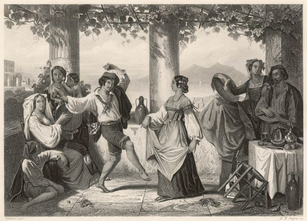 A couple dance the Tarantella accompanied by a lute and tambourines underneath a shady roof of vines