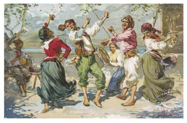 On a Neapolitan terrace, a group of barefoot dancers perform a lively tarantella, clicking their castanets