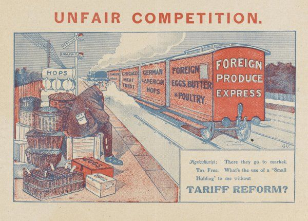 How can the poor British agriculturist compete with foreign produce - German and American shops - the Chicago Meat Trust ? The answer is TARIFF REFORM, of course !