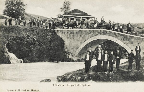 The Bridge of Cydnus at Tarsus, Turkey. A city in Mersin Province, near to the city of Adana