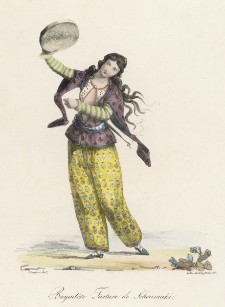 Bayadere (dancing girl) of Tartary, with her tambourine