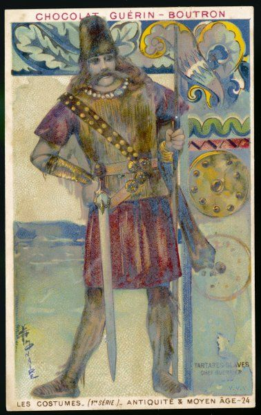 Warrior chief of the Tartars in full armour, carrying a spear and a sword