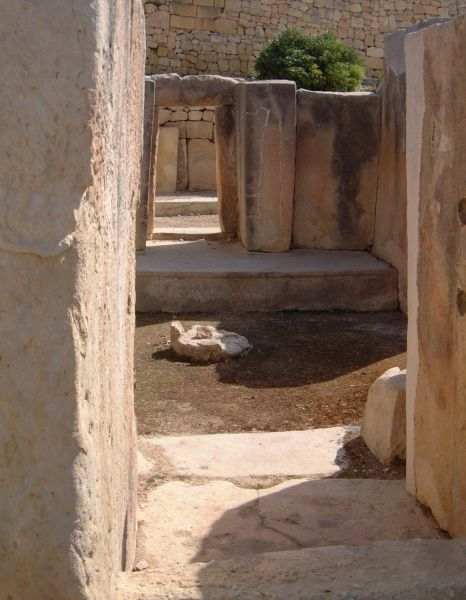 The Tarxien Temples - dated to circa 2500 BC - at Paola. This photograph shows a side altar and square-cut doorways