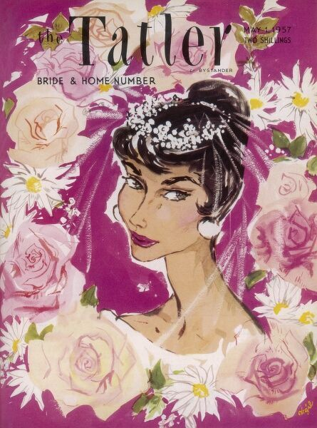 Front cover of The Tatler Bride and Home Number featuring a bride with unfeasibly sharp cheekbones surrounded by blowsy roses