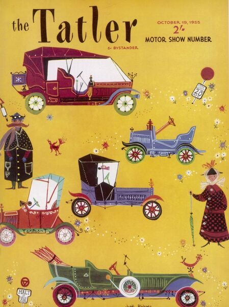 Illustrated front cover of The Tatler's Motor Show Number showing a quirky selection of vintage cars