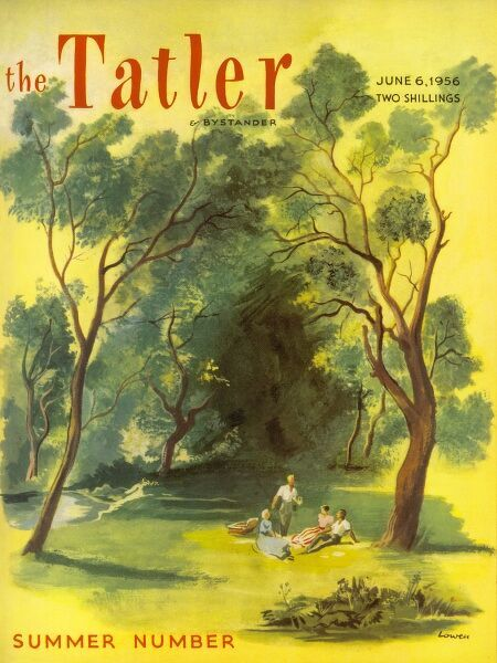 Front cover of The Tatler featuring a bucolic scene a four people enjoy a picnic in a woodland glade not far from a river