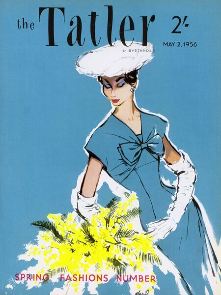 Front cover of The Tatler featuring an elegant woman in a turquoise blue dress, and white hat and gloves contemplating a large spray of yellow flowers