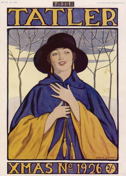 Bold front cover by Lewis Baumer for the Tatler Christmas Number front cover featuring a happy looking woman in a striking blue and yellow cloak against a festive snowy background