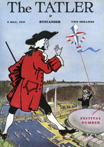 Front cover of The Tatler, 9 May 1951, celebrating the opening of the Festival of Britain. The cover features the 18th century Tatler mascot striding over the site on London's South Bank. Date: 1951