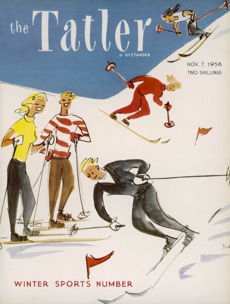 Front cover design for The Tatler Winter Sports Number, featuring a number of cheery, jolly skiiers