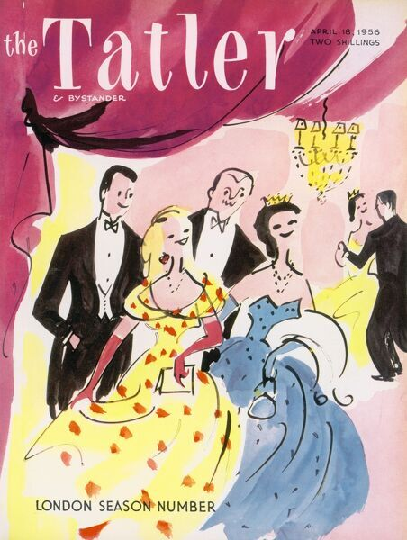Front cover of The Tatler's London Season Number featuring a stylised illustration showing couples in evening attire at a society ball