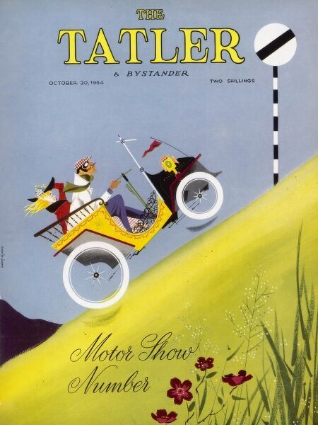 "Front cover of The Tatler featuring an illustration of an intrepid driver wearing cap, goggles and scarf steering his vintage car to the summit of a very steep hill, where there is a ""National Speed Limit Applies"" sign"
