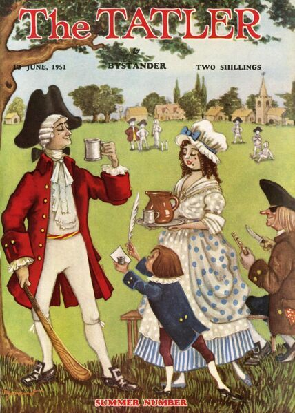 Front cover of The Tatler Summer Number 1951 showing the Tatler mascot in his 18th century frock coat and tricorn hat enjoying a tankard of refreshing ale served to him by a typical serving wench while he take a break from a game of early cricket