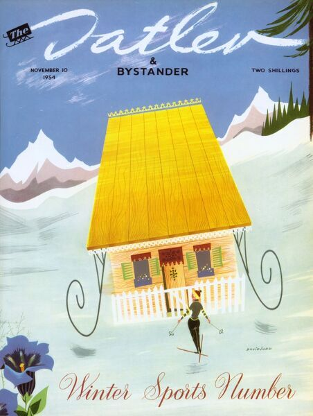 Lovely 1950s illustration by David Judd for the front cover of The Tatler's Winter Sports Number, showing a lone female skiier arriving at a quaint looking chalet on the ski slopes. A blue gentian flower can be seen in the foreground