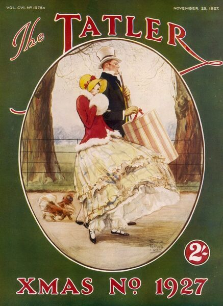 Front cover of The Tatler, Christmas Number featuring a 19th century couple from around 1830 - she wearing a crinoline, bonnet and muff with visible bloomers while her male companion carries a hat box. A small Pekingese dog follows behind