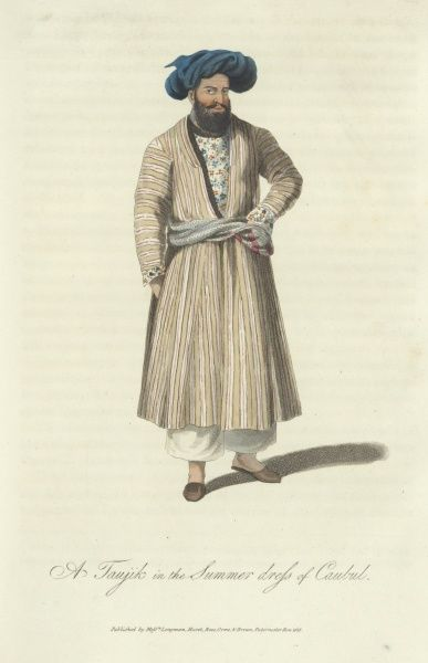 A Taujik in the Summer Dress of Caubul. A 19th century Afghan man wearing a long coat with a floral patterned shirt underneath, and a blue turban