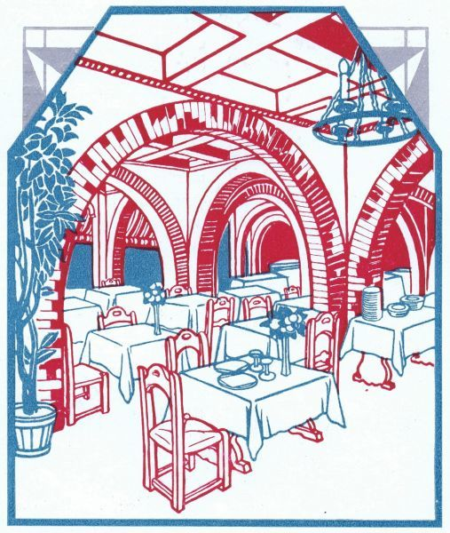 An art deco sketch of the Taverna at the Excelsior Hotel, Lido, Venice Date: late 1920s