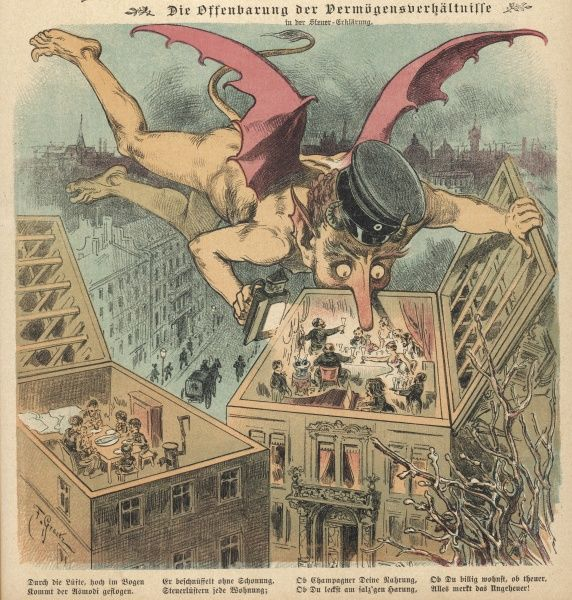 The government, caricatured as a devilish flying imp, invades privacy to assess people's financial status
