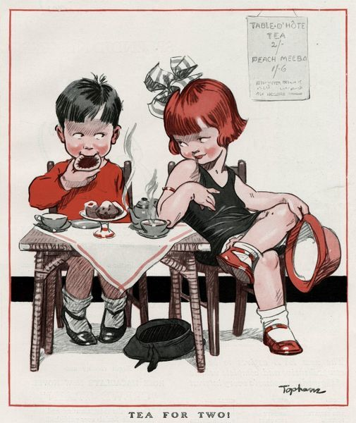 A boy and girl sitting at a table with tea and cakes. 1926